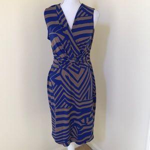 Joseph Ribkoff Size 12 blue combo faux wrap dress